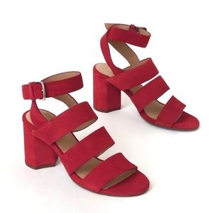 Seychelles Suede Strappy Block Heel Sandals NEW